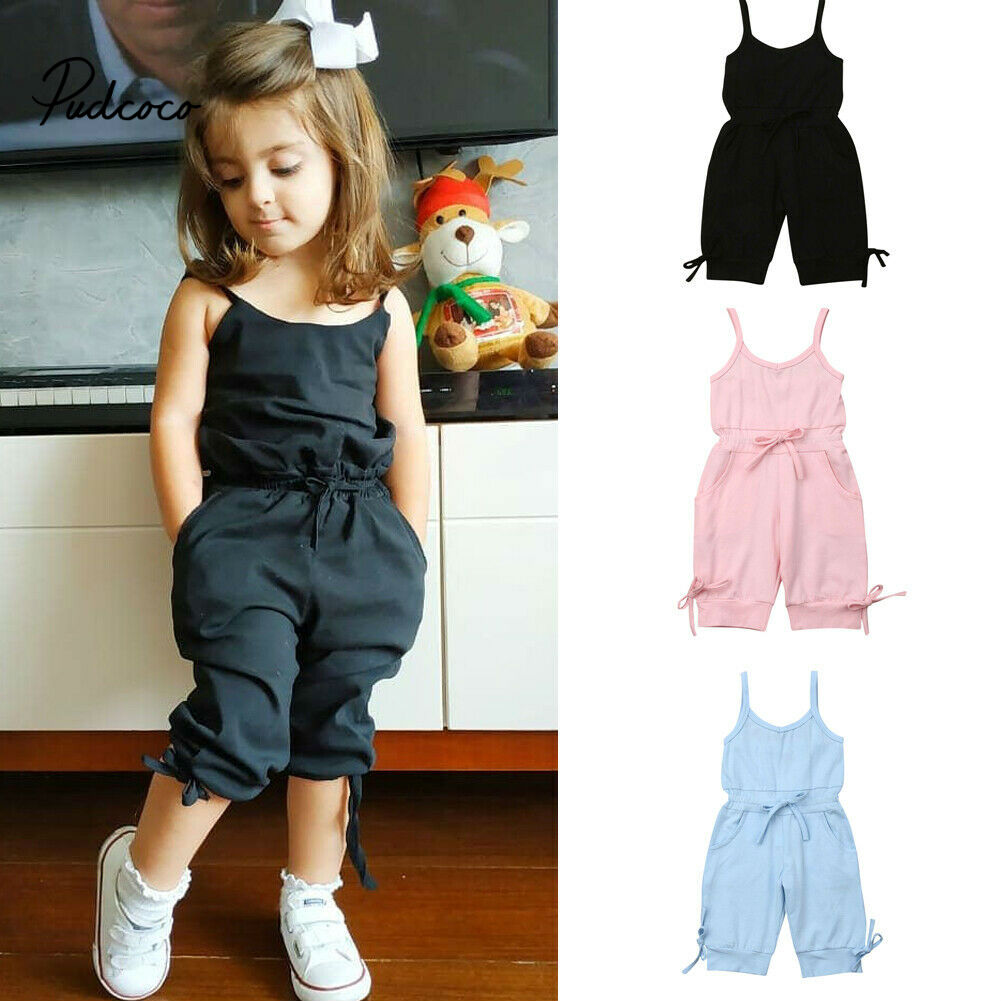Cute Toddler Baby Girls Kids Clothes Sleeveless Solid Cotton Summer Romper Backless Fine Strape Jumpsuit One Pieces Drop Ship