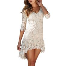 2019 New Yfashion Women Sexy V Neck Hollow Out Backless Lace Dress Top Selling