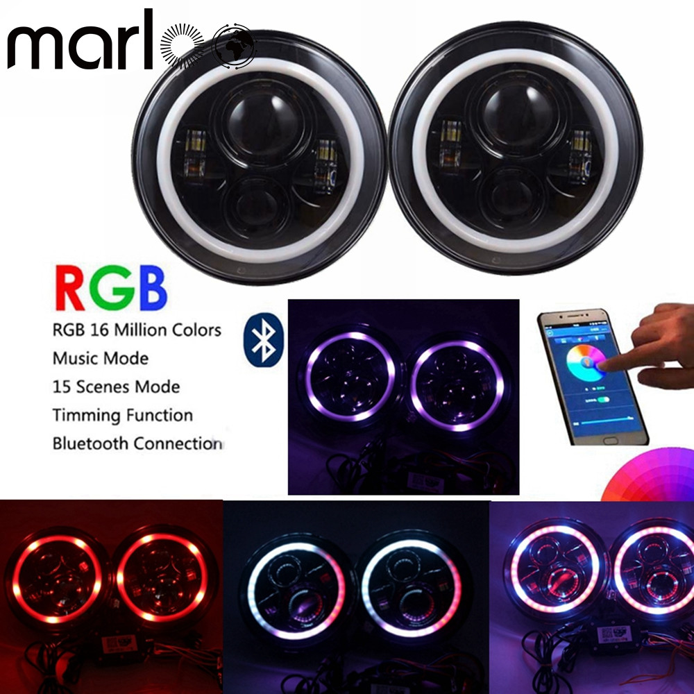 Marloo 7 inch LED Headlights RGB Halo Ring Angel Eyes 7 Round Multicolor DRL Bluetooth Remote Control for Jeep Wrangler JK CJ 6 inch led headlights eagle light hi lo beam halo ring angel eyes x drl for offroad jeep wrangler front bumper fog light