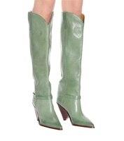 Зеленый сапоги до колена модные необычный стиль каблука обувь Острый носок свободные прямые ботинки с высоким голенищем шпилька Slip on новые