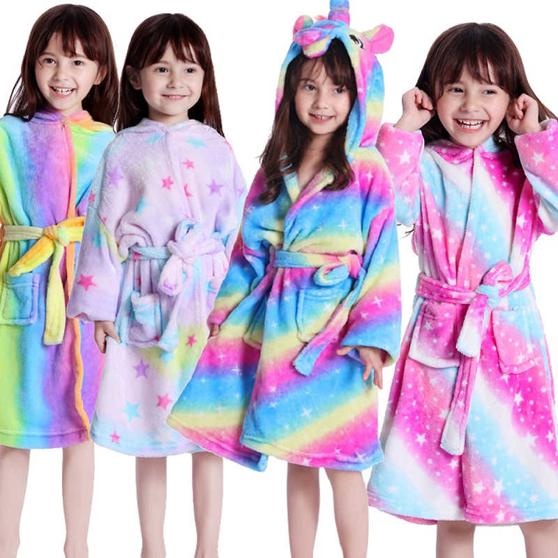 Niños pequeños Albornoz franela de manga larga niños niñas Animal unicornio Toalla de baño ropa de dormir con capucha albornoces de baño 2019 ropa de bebé