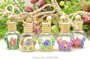 8ML 30pcs/lot Perfume/Aromatherapy Bottle, Car Hang Pendant Polymer Clay Decoration, Essence Oil Container with Wood Cap