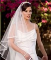 Wedding veil Accessories Ribbon Edge Ivory White Bridal Veils With Comb Tulle Short Elbow Length veu de noiva