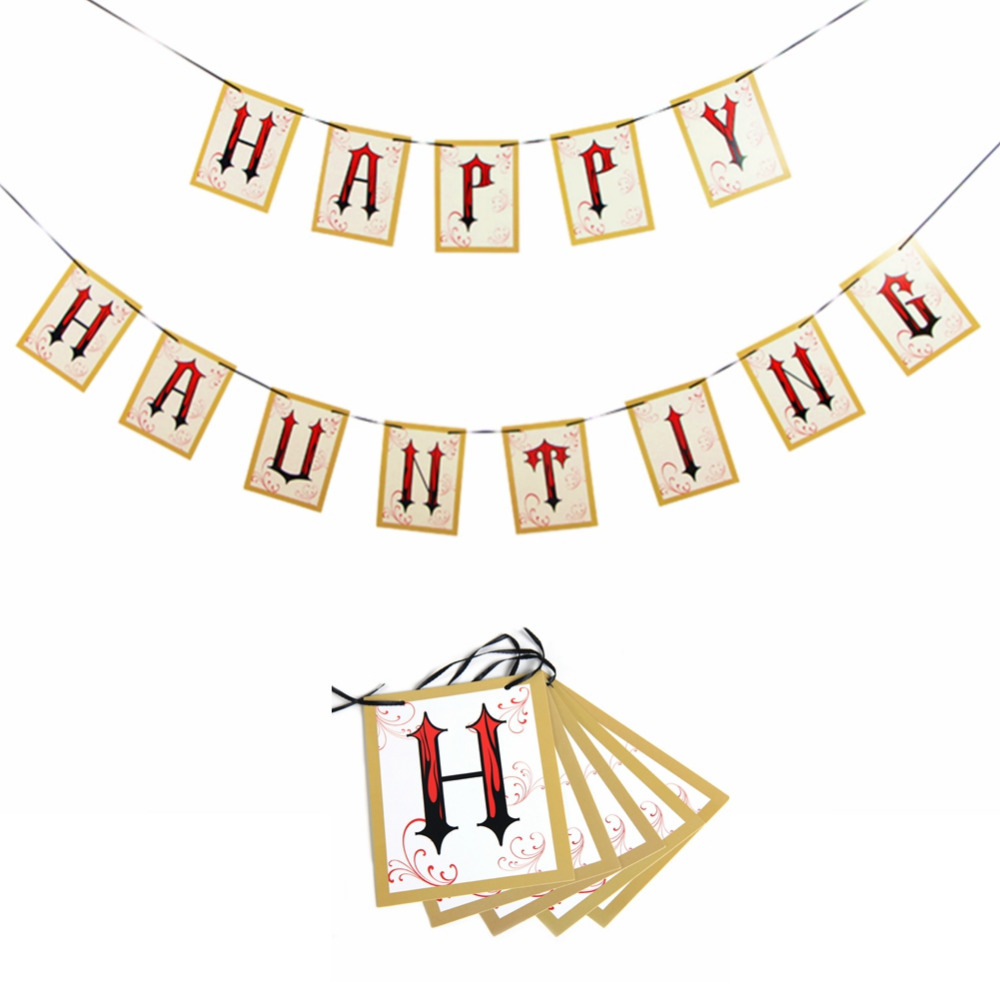 Funny Letter Banner quot HAPPY HAUNTING quot Banner Halloween Party Decorations Fun Celebration Prop Vintage Garland Decor in Party DIY Decorations from Home amp Garden
