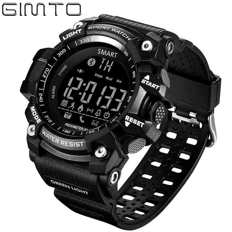 Ver hombres deporte podómetro digital Reloj Bluetooth GIMTO podómetro inteligente calorías Led relojes reloj masculino reloj resistente al agua