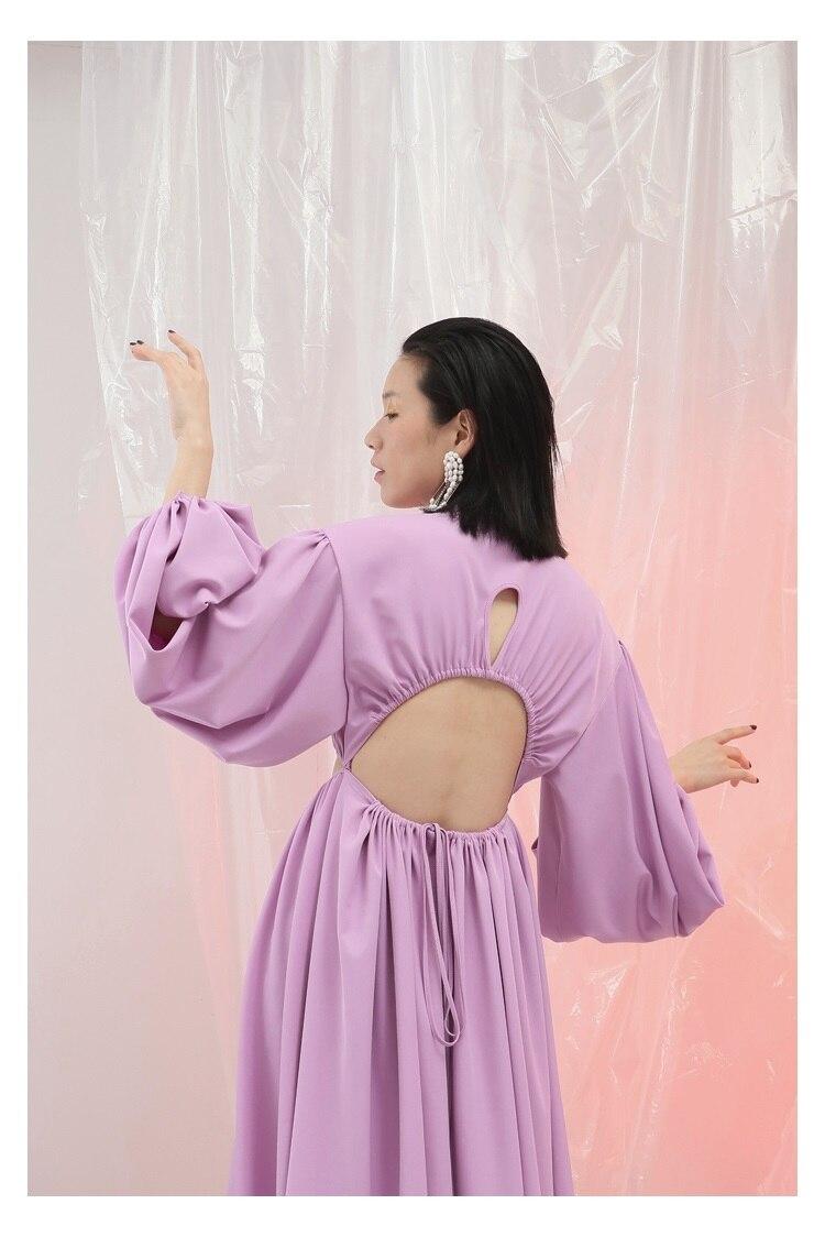 De Mousseline Long Robe Unique Creux Printemps Ultra Poitrine D'été Extra Personnalité Longue Pink En Soie Manches out Lanterne wqnU4Cq7