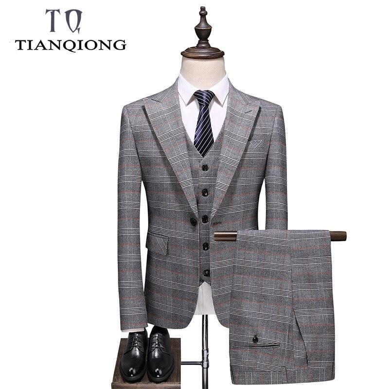 Man 2019 Light Grey Plaid Mens Wedding Suits Korean Style Clothing Men Suit Slim Fit Classic 3 Pieces Work Formal Business Suit