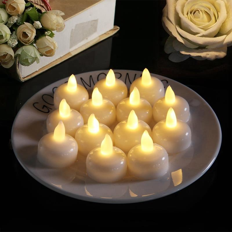 24 Pack Waterproof Flameless Floating Tealights Warm White Battery Flickering Led Tea Lights Candles Wedding Party Center