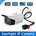 Luz Das Estrelas de 2MP 1MP Câmera IP POE Ao Ar Livre Onvif P2P Nuvem baixo 0.0001Lux Full Color CCTV Câmera Da Bala 720 P 1080 P IOS/Android vista