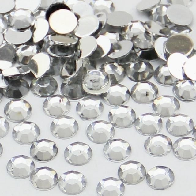 1000pcs Clear White 3mm Nail Glitter Rhinestones Crystal ss12 Non HotFix Round  FlatBack Resin Nail Art 9e80f7880feb