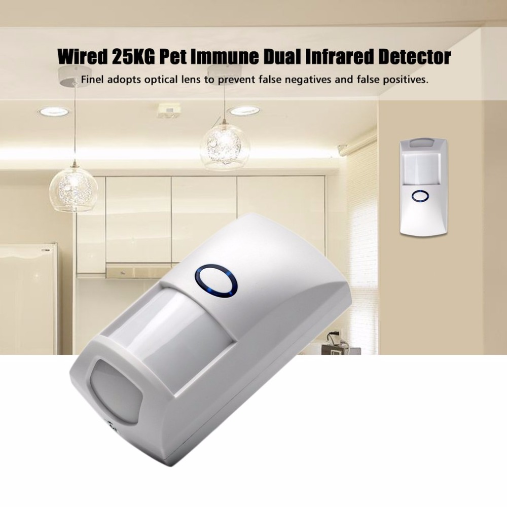 Mini Portable Wired 25KG Pet Immune Dual Infrared PIR Motion Detector Sensor Low Consumption for Home GSM Security Alarm System 2pc mc 335rwireless pet immune pir motion sensor passive infrared detector for gsm pstn home alarm system 868mhz free shipping