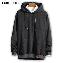 2018 New Solid Fleece Hoodie Men Tracksuit Men's Fashion casual Clothes Hooded Sweatshirt Men Pullover Oversize Gray black 5XL