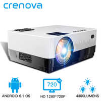 CRENOVA Newest HD 1280*720p Video Projector With Android 6.1 OS WIFI Bluetooth 4300 Lumens Home Cinema Movie Projector