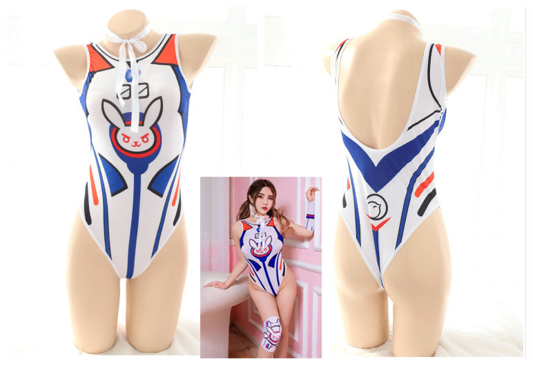 Anime Game OW <font><b>DVA</b></font> <font><b>Cosplay</b></font> Costume D.Va Swimsuit Su Ku Water <font><b>Sexy</b></font> One-piece Swimsuit image