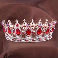 Hot conceptions européennes roi royal reine couronne strass diadème tête bijoux quinceanera couronne mariage mariée diadèmes couronnes reconstitution historique