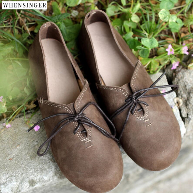 Whensinger - Women's Handmade Genuine Leather Flat Lacing Mother Shoes Woman Loafers Soft Comfortable Casual Shoes Women Flats summer women casual shoes breathable mother shoes women flat platform soft comfortable braided shoes light loafers for woman