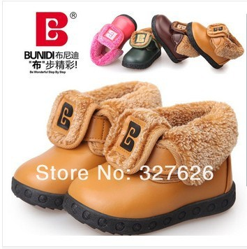 New Design 1pair cotton-padded Baby Ankle Snow Boot+inner size 12 - 14.5cm,Antislip Brand kids shoes,Winter Warm Rainboots