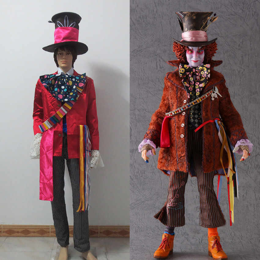 Alice in Wonderland 2 Mad Hatter Cosplay Costume Adult Costumes for Halloween