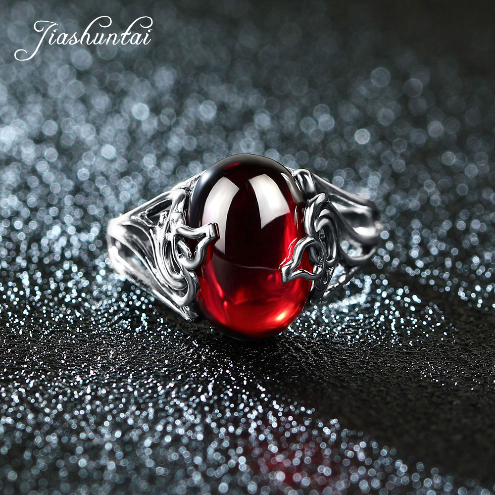 JIASHUNTAI Vintage 925 Sterling Silver Rings Gourd Shape Retro Thai Silver Red Stone Jewelry For Women jiashuntai vintage 925 sterling silver rings for women natural semi precious gems stone retro thai silver jewelry