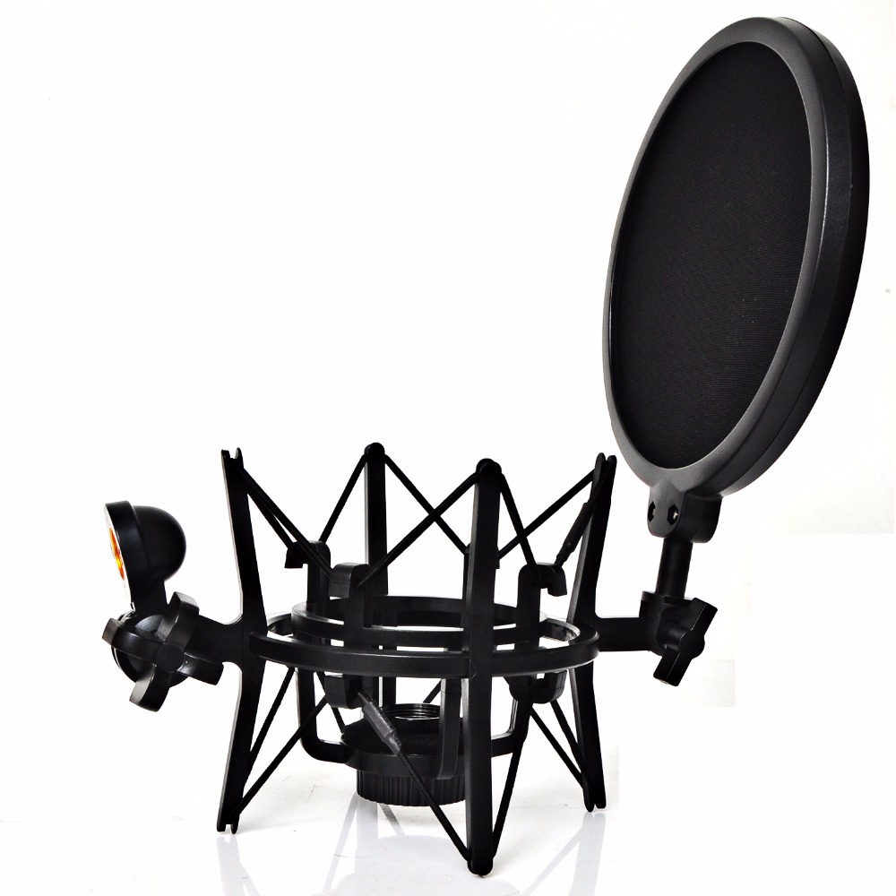 SH-101 Hot Sale Microphone Mic Professional Shock Mount with Pop Shield Filter Screen for short thread microphone