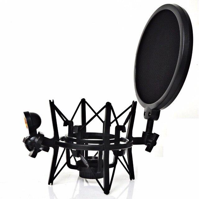 SH 101 sıcak satış mikrofon Mic profesyonel şok dağı ile Pop kalkan filtre ekranı kısa iplik mikrofon