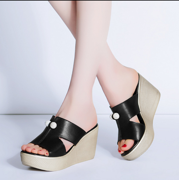 Catching 2017 Summer Shoes Women Slippers High Thick Heel 2017 Women Sandals Suede Platform Ladies Wedges Sandals Flip Flops new summer style fashion women slippers flip flops wedges platform sandals hot selling high heel bowtie sweet sexy ladies shoes
