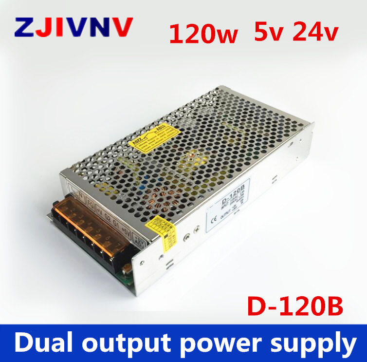 D-120B two group supply 24v 3A and 5v 10A switching power supply dual output dc power supply 5v 24v led power supply 120wD-120B two group supply 24v 3A and 5v 10A switching power supply dual output dc power supply 5v 24v led power supply 120w