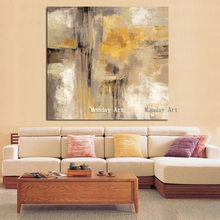 Hand painted Yellow Gray Abstract Oil paintings on Canvas Scandinavian Art Wall canvas Picture for Living Room Sofa Home Decor