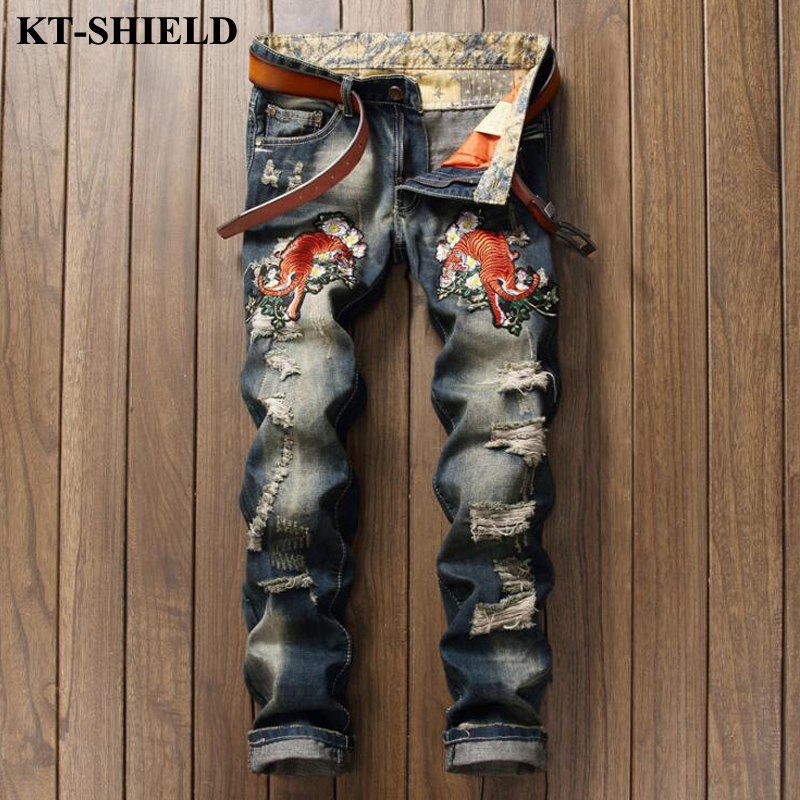 New Fashion Jeans Men Brand Designer Slim fit Denim Trousers Male Luxury Clothing Casual Jenas Ripped