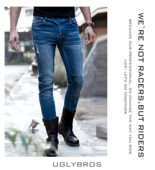 newest uglyBROS vegas 05 jeans Hidden side of the knee Motorcycle riding motorcycles jeans trousers man ptans