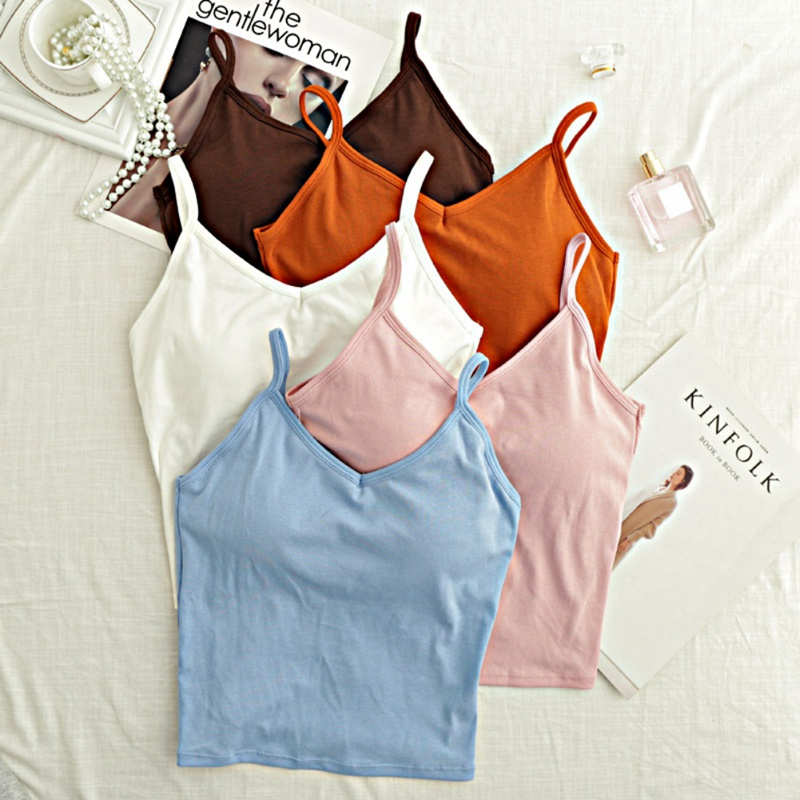 2019 Women Sexy Casual Tank Vest Summer Bodycon Slim Tank Crop Tops Padded Camis