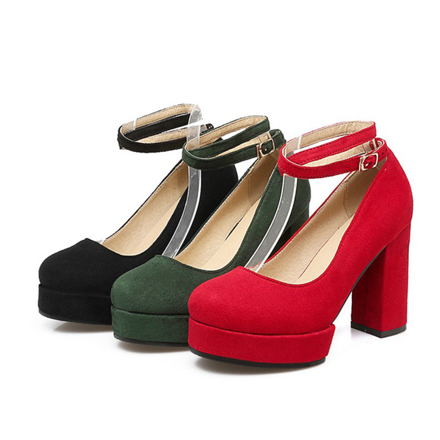 7e212de3be5 Autumn 2017 Casual Red Sexy Round Toe High Heels Platform Shoes Pumps Party  Women's Dress Wedding Shoes Office ladies Pumps-in Women's Pumps from ...