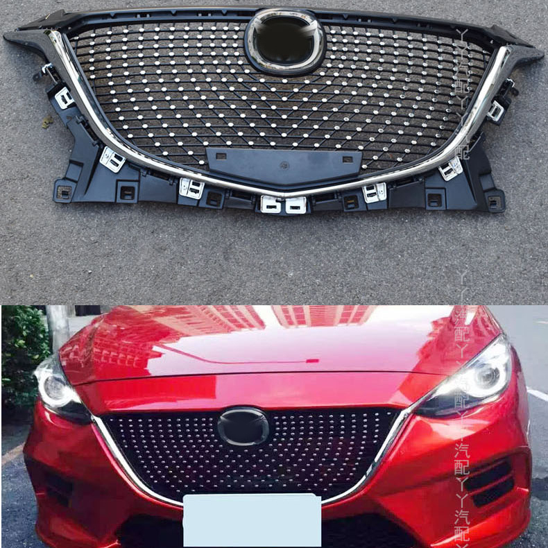 Fit For Mazda 3 Axela Front Bumper Grille ABS Chrome Grill Cover Trim Modified 2014 2015 2016 for mazda 3 axela hatchback sedan 2014 2015 2016 abs high quality air conditioning ac control switch cd panel cover trim 1 pcs