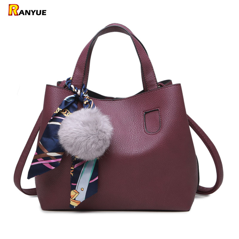 Litchi Pattern PU Leather Women Handbag 2Pcs Set Shoulder Bag Girls Small Bags Handbags Famous Brand Bolsa Casual Tote Women Bag 2pcs set pu leather women handbags famous brand star tassel women bags large capacity tote bag luxury elegant handbag leather
