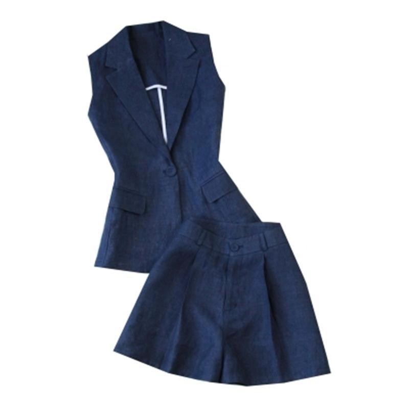 Kadın Giyim'ten Kadın Setleri'de Moda takım elbise Kadın kadın yaz yeni keten ince takım elbise yelek + geniş bacak yüksek bel şort mavi takım elbise'da  Grup 1