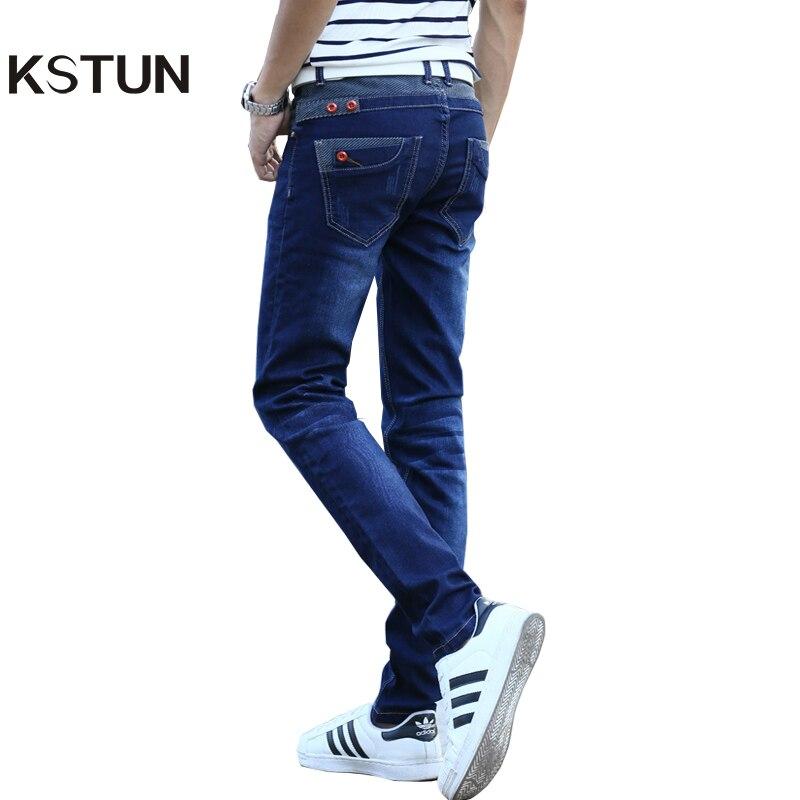 Kstun Джинсы для женщин Для мужчин стрейч синий Пуговицы карманов Дизайн Slim Fit узкие джинсовые штаны джоггеры Джинсы для женщин Повседневное Байкер Двигатель мужской Мотобрюки