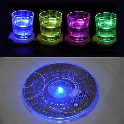 1Pc LED Coaster Color Change Light Up Drink Mat Cup Tableware Glow Bar Club Party Decor Cup Mat C42