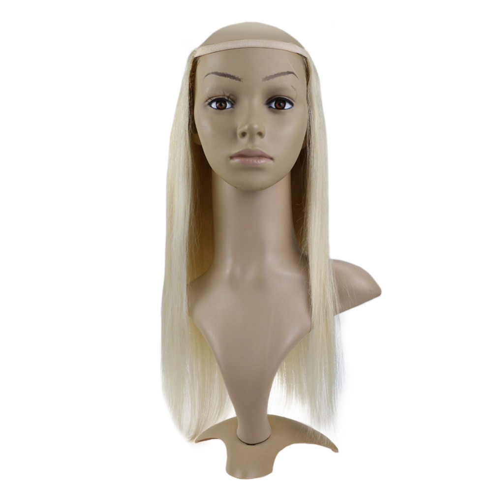 Full Shine U Part Wig Extensions Solid Color #60 Straight Hair 100% Machine Remy Hair  Clip In One Piece Extensions Half Wig