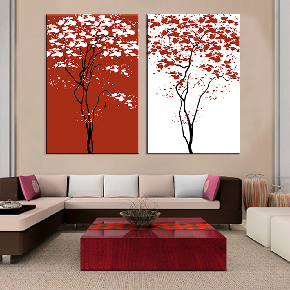 2016 Rushed Oil Painting Fallout New Modular Unframed Canvas Painting Tree  Oil Art Print On Home Decoration Unique Gift 2pieces