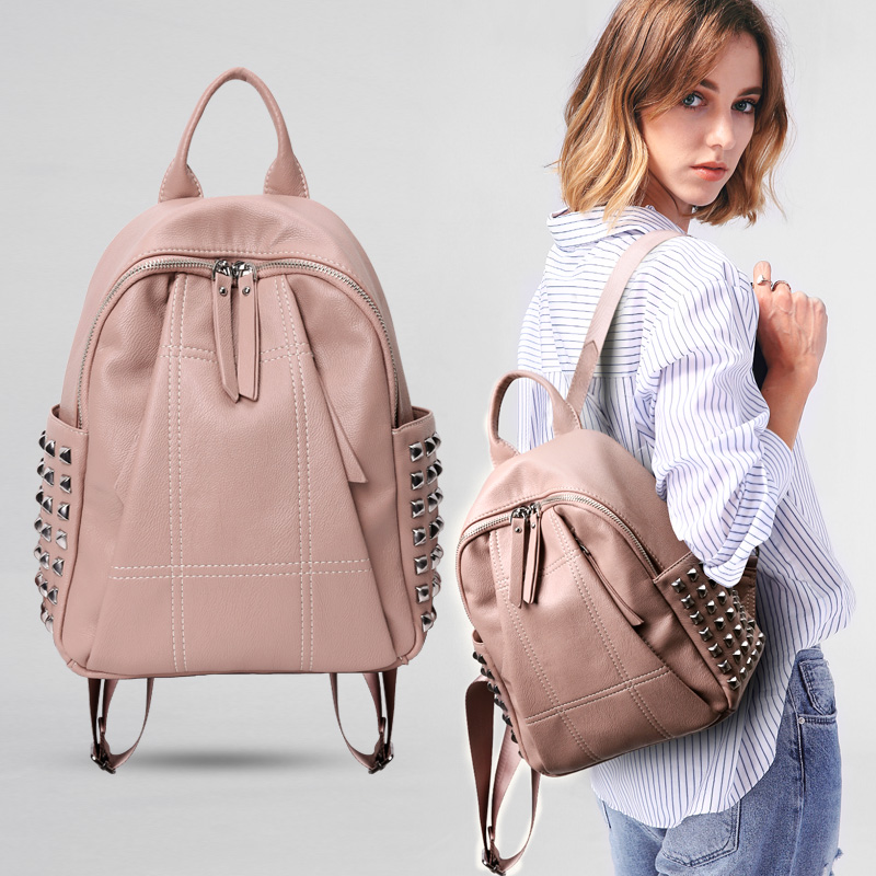 Aliexpress.com   Buy New Hot Sale Women Backpack Soft Leather Rivets  Mochila Feminina Travel Teenage Girl Backpacks Small School Bag from  Reliable Backpacks ... 81e4d97fce122