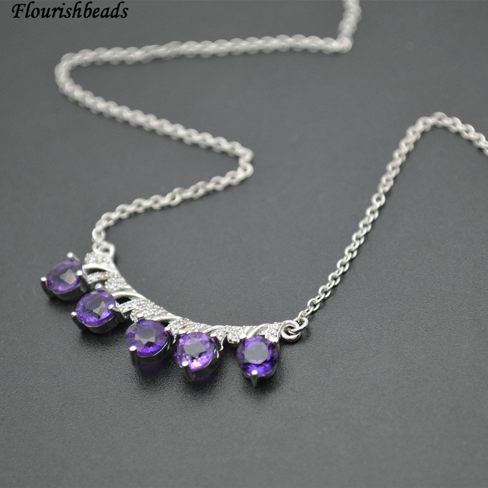 3pc Natural Surface Cutting Amethyst Stone 925 Silver Paved CZ  Pendant fit Collarbone Chains Necklace Jewelry