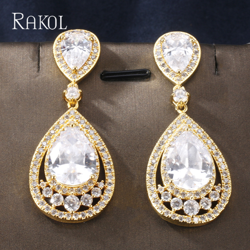 Rakol Luxury Big Water Drop Cubic Zirconia Women Drop Earrings For Elegent Brides Evening Dinner Part Wedding Jewelry