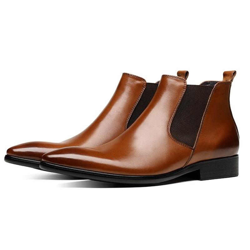 Chelsea Italien Homme Chaussures Design VéritableCowboy marron Noir Martin Bottines Cuir Mariage New Classic Js248 De Bout Pointu 54ALq3Rj