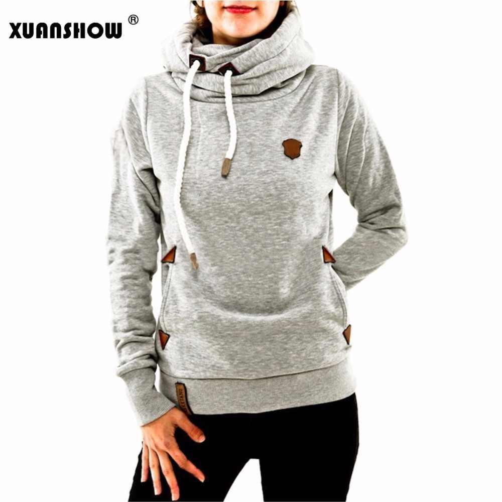 XUANSHOW 2019 zimowe swetry dla kobiet bawełniane z długim rękawem kieszeń grube ciepłe modne swetry damskie płaszcz znosić