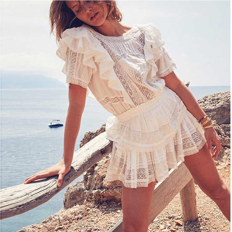 夏のランウェイデザイナードレス 2019 女性の夏のセクシーなエレガントなホワイトレース刺繍フリルミニドレスボヘミアン Vestidos