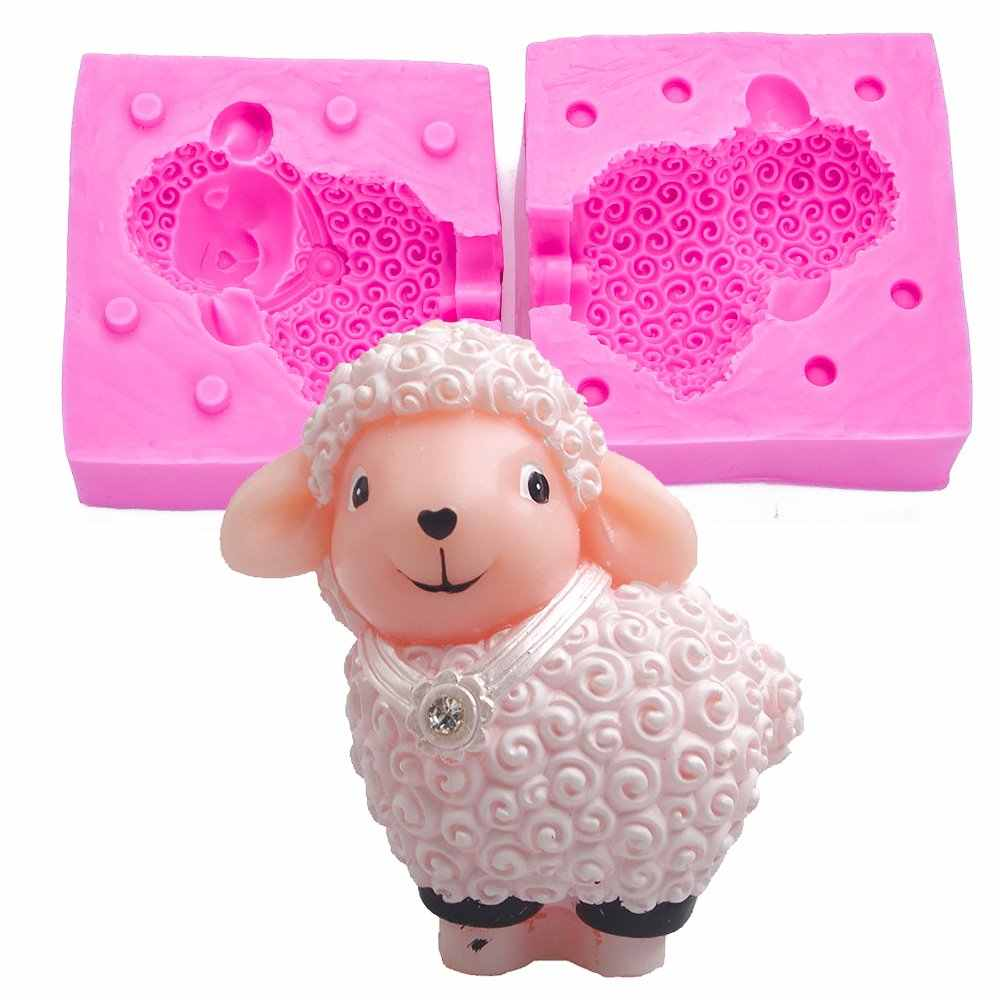 New 3D diamond sheep candle silicone fondant soap mould for mastic confectionery accessories chocolate cake decoration FT-1034