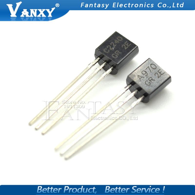 100pcs 2SA970 2SC2240 TO92 (50PCS* A970 +50PCS* C2240 ) TO-92 Bipolar Transistors - BJT NPN New And Original