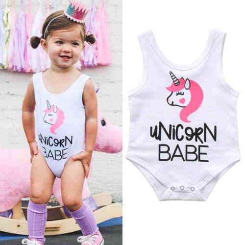 2018 חדשים cartoon בגדי תינוקות תינוק בן יומו בנות בגדי קיץ חליפת קיץ תלבושות סרבל Romper כותנה לבנה חד קרן חמודה
