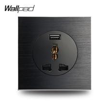 Настенная панель L6, черная, атласная, металлическая, универсальная, 3 штифта, настенная розетка с 2.1A usb зарядным портом, матовый алюминий, EU, UK, US, универсальная, 3 штифта