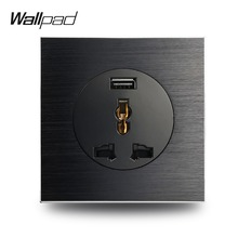 Wallpad L6 Black Satin Metal Universal 3 Pin Wall Socket With 2.1A USB Charging Port Brushed Aluminum EU UK US